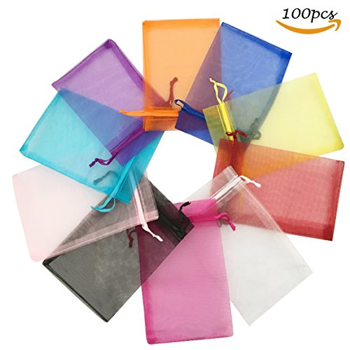 "AlyanJammsy 100pcs 5.12 x 7.09""/13x18cm Organza Bags Drawstring Pouches Pearl Jewelry Bags Party Wedding Favor Gift Bags"