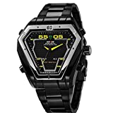 Weide Fashion Sport Dive Watch Stainless Steel Led Watches Men Digital Dual Time Display Alarm Hours 30m Waterproof (Black White Yellow)