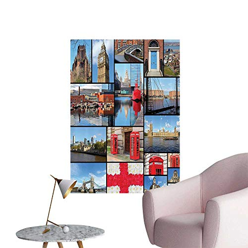 Wall Decals England Cityscape Red Telephe Booth Clock for sale  Delivered anywhere in USA