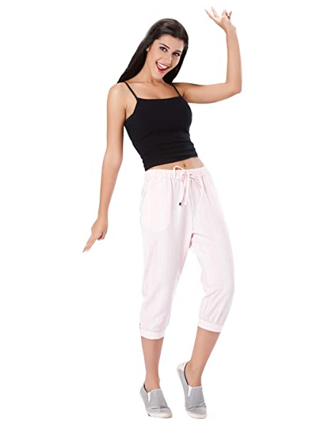 Image Unavailable. Image not available for. Color  Mystere Paris Luxurious  Striped Lounge Capri Cotton Sleepwear Nightwear Casual Women Ladies Pink  White ... 501e57968