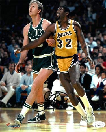 Larry Bird signed Boston Celtics 8x10 Photo- Hologram (vs Magic Johnson) - JSA Certified - Autographed NBA ()