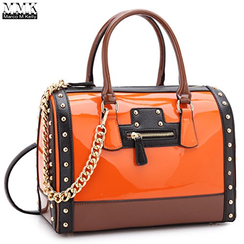 Orange Leather Handbag - 5