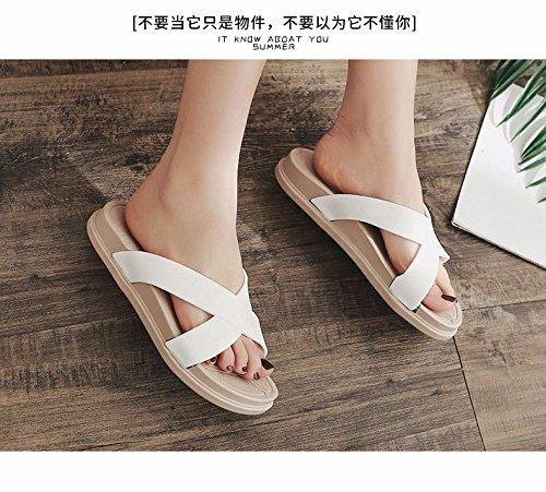 Nuovi sandali XZ di moda moda prodotti estivi LIUXINDA studenti' Pantofole italiana carino sandali outdoor di trascinare Bianco donna g5nxqd0