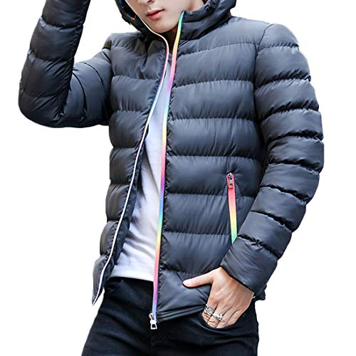 The Men Autumn New High Short Hooded Coat Winter Stitching Outerwear Paragraph Jacket Color MUCHAO Collar Black and Fashion wxtqCnnp