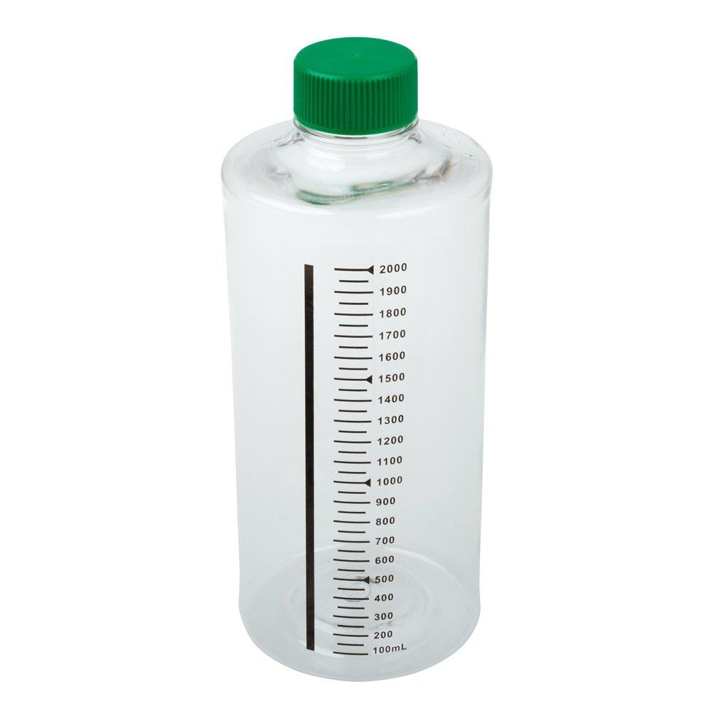 Celltreat 229584 2,000mL Roller Bottle, Sterile, Non-treated Suspension Culture, Printed Graduations, Non-Vented Cap (Case of 12)