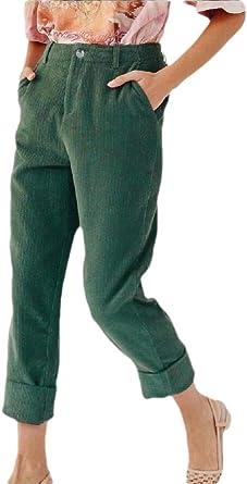 Security Pantalones De Pana Sueltos Y Casuales Ajustados Con Bolsillos Para Mujer Verde Verde L Amazon Es Ropa Y Accesorios