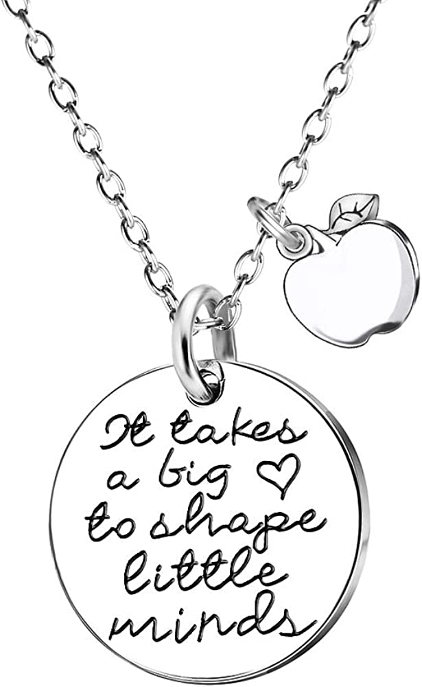MA&SN Teacher Gift Cute Apple Double Pendant Necklace It Takes a Big Heart to Shape Little Minds