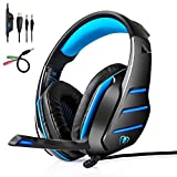 Cheap Gaming Headset | PS4 Xbox One Headset | LOL-FUN Noise Cancelling Wired Stereo Bass Game Xbox Headphones Over-ear with Microphone LED Light Volume Control Splitter for PC Laptop Tablet (Black and Blue)