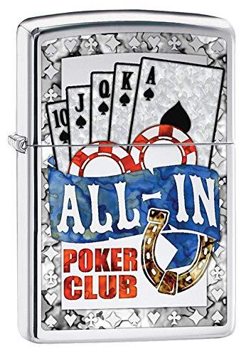Zippo Lighter: All in Poker Club - High Polish Chrome 79749 (Cards Chrome Polish Lighter High)