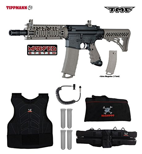 (Tippmann TMC MAGFED Sergeant Paintball Gun Package - Black/Tan)