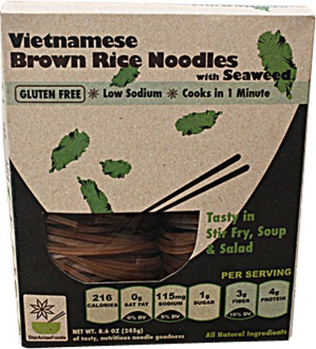 Happy Pho Vietnamese Brown Rice Noodles with Seaweed, 8.6 Ounce -- 6 per case. by Star Anise by Star Anise