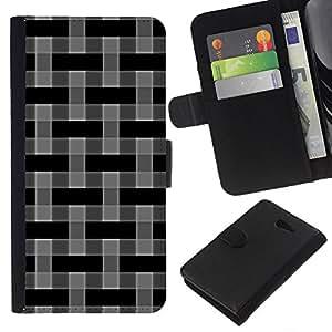 All Phone Most Case / Oferta Especial Cáscara Funda de cuero Monedero Cubierta de proteccion Caso / Wallet Case for Sony Xperia M2 // Pattern Wallpaper Grey Black Random