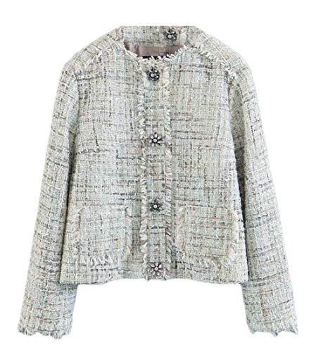 Cromoncent Women's Fringe Tweed Crew Neck Coat Blazer Jacket 1 M (Neck Tweed Jacket)