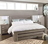 Zerlien Casual Wood Warm Gray Color King Poster Bed And Two Nightstands