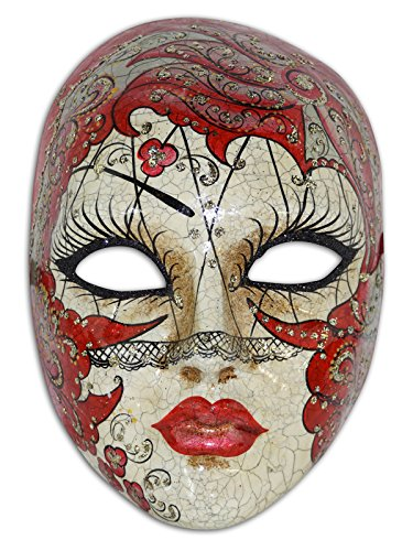 Voltes 5 Costume (Venetian Full Face Mask Volto Velo for Women (red))