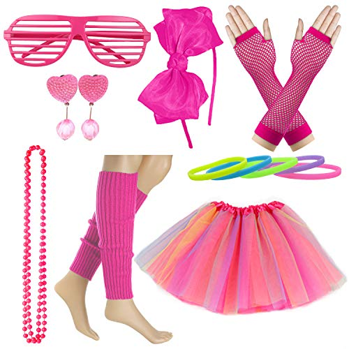 Kid Girl 80s Costume Accessories Rainbow Tutu Skirt with Neon Bracelet Necklace Set (Hot -