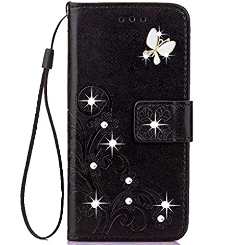 HAOTP(TM) Beauty Luxury 3D Fashion Handmade Bling Crystal Rhinestone Butterfly Floral Lucky Flowers PU Flip Stand Credit Card ID Holders Wallet Leather Case Cover for iPhone SE 5S 5 (Flip Cover Iphone 5 Bling)