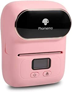 Phomemo-M110 Label Printer- Mini Portable Bluetooth Thermal Label Maker Apply to Labeling, Office, Cable, Retail, Barcode and More, Compatible with Android & iOS System, with 1 40×30mm Label, Pink