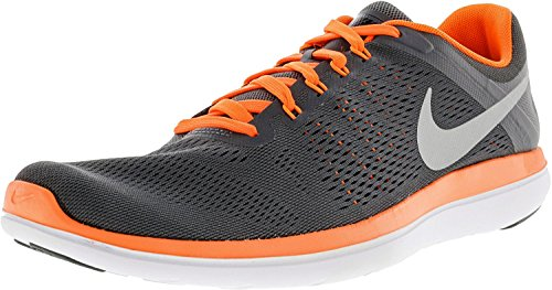 NIKE Men's Flex 2016 RN Running Shoe Dark Grey/Total Orange/Black/Metallic Silver Size 8.5 M US CUGzq378