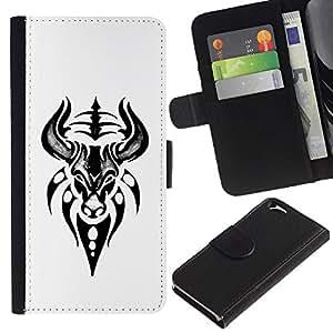 EJOY---La carpeta del tirón la caja de cuero de alta calidad de la PU Caso protector / Apple Iphone 6 / --Bull Jefe del dibujo del arte del tatuaje