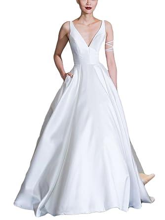 DreHouse Women\'s V-neck Backless Satin Long Bridal Gowns Wedding ...