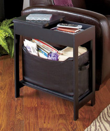 Side End Table with Storage Bin