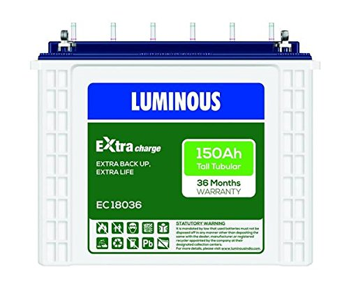 Luminous Eco 18036 150Ah Tubular Battery 2021 June 18036 150Ah Battery Nominal Voltage - 12 Volt Inverter support - 600 VA – 10 KVA