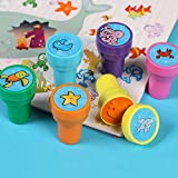 Multicolor Assorted Ocean Animal Stamps Set Self Inking Stamps Toy Gifts for Kids Toddler Best Self Inking Plastic Christmas Themed Stamps 6 Count