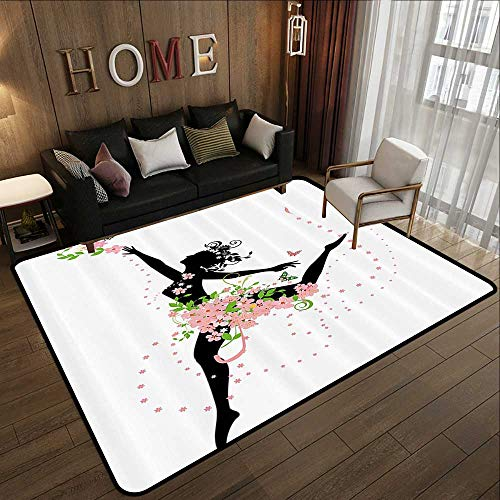 Throw Rugs,Floral,Dancing Woman Figure Silhouette with Flourishing Spring Flowers Print,Light Pink Green Black 63