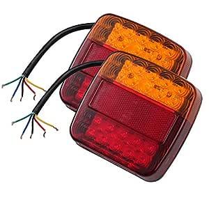 2PCS Luces Traseras Remolque 12V LED Piloto Trasero de 5 Funciones ...