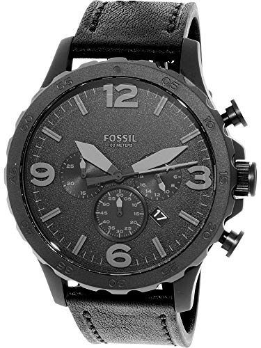 Fossil Mens Chronograph - Fossil Men's JR1354 Nate Stainless Steel Chronograph Watch with Black Leather Band