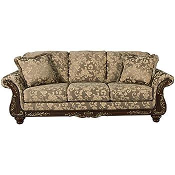 Ashley Furniture Signature Design   Irwindale Sofa   Traditional Elegant  Couch   Topaz With Goldtone Leaf
