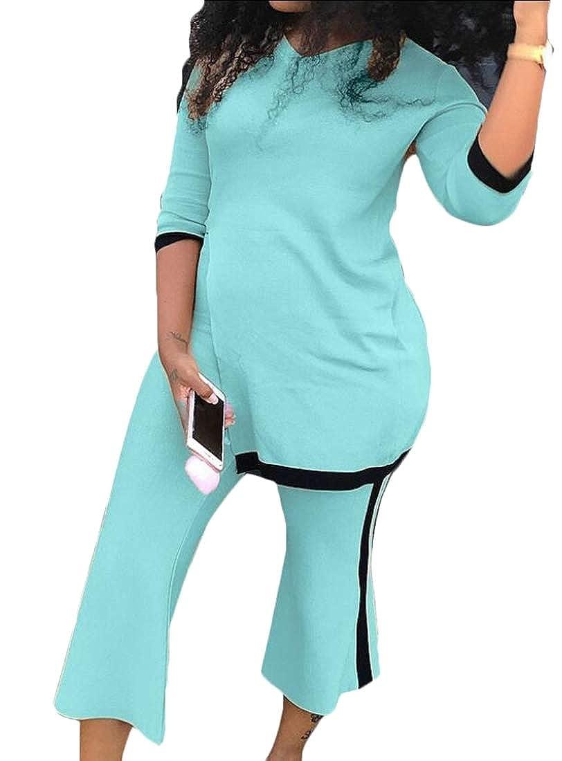 Womens 2 Pieces Sportwear Long Sleeve Tops Stripe Skinny Pants Tracksuit Set