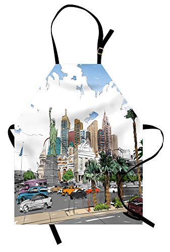 Ambesonne USA Apron, Hand Drawn Las Vegas City Nevada Street Sketch Buildings Statue of Liberty Cars Palms, Unisex Kitchen Bib Apron with Adjustable Neck for Cooking Baking Gardening, Multicolor