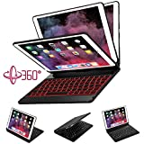 Greenlaw ipad Pro 10.5 Case with Keyboard Compatible Apple iPad A1701/A1709 -- 360 Rotate Smart Keyboard Case/7 Colors Backlit Folio Case Cover/Auto Wake Sleep BT Wireless Keyboard Case-Black