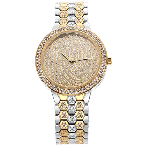 BELBI Women Jewelry Watch Fashion Business Luxury Rhinestone Dress Bracelets Wrist Watch (Two-tone) (Womens Two Tone Luxury Watch)