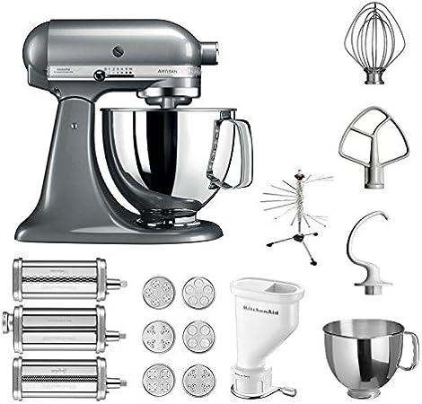 KitchenAid Artisan – Robot de cocina, 5 ksm125ps, pasta del paquete incluye Top accesorios: Pasta Snoot con 3 rodillos, pasta Prensa (Corto) con 6 boquillas, nudeltrockner y accesorios estándar Contur Silber: Amazon.es: Hogar