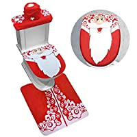 Hasde Santa Toilet Seat Cover and Rug Set Red Christmas Decorations Bathroom, Christmas Bathroom Decorations, for Xmas Holiday Party Festival Home Decor (A)