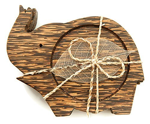 IYARA CRAFT Wooden Coasters for Drinks Tea Cups Saucers,Table topper decoration set (Elephant lift trunk (Palm Wood))