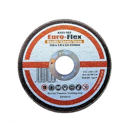 115mm x 1.0mm Slitting Disc. Ultra Thin Metal CuttinG Disc 4 1/2' Pack of 25 Euro-Flex
