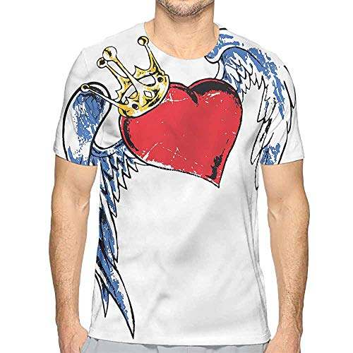 t Shirt Printer Tattoo,Grunge Heart Figure Wings Junior t Shirt XXL ()