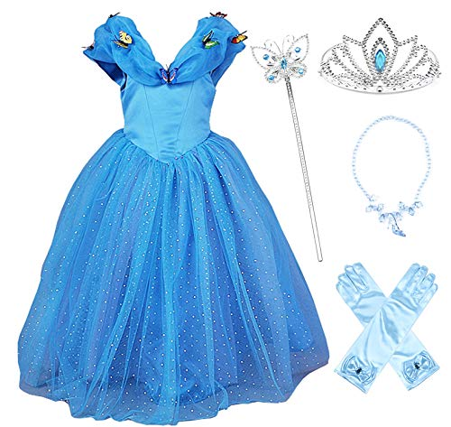 JerrisApparel New Cinderella Dress Princess Costume Butterfly Girl (5 Years, Blue with -