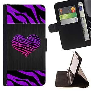 - Zebra Stripes Heart Brushed Metal Purple - - Prima caja de la PU billetera de cuero con ranuras para tarjetas, efectivo desmontable correa para l Funny HouseFOR LG G3