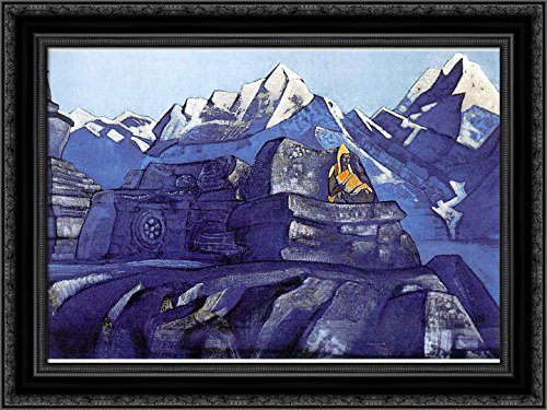 Tsong-kha-pa 24x18 Black Ornate Wood Framed Canvas Art by Nicholas Roerich