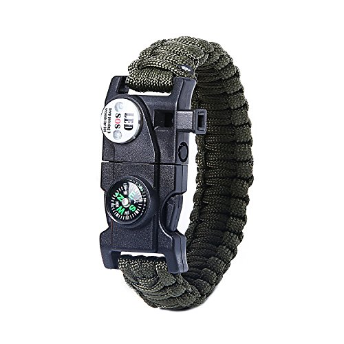 IT&Lin Survival Bracelet SOS LED Light, Firestarter, Rescue Whistle and mini Multitool Fire Starter Compass Slim Buckle Design (Army green)