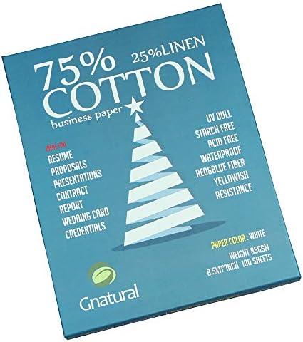 "75% cotton 25% linen paper,85gsm inkjet printing paper,8.5""x11"" white colour resume paper,100 sheets Won't get rainy cotton paper"