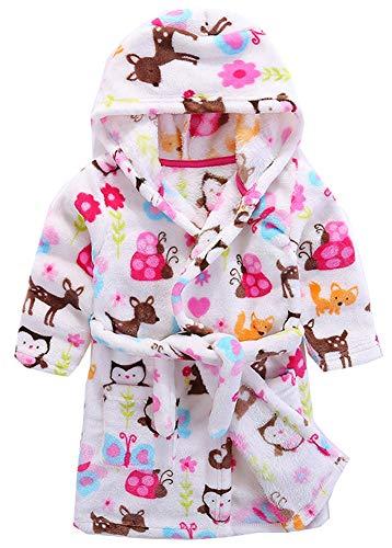 Boys & Girls Bathrobes, Plush Soft Coral Fleece Animal Hooded Sleepwear for Kids (5T, Owl)]()