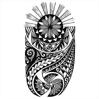 Tatuajes temporales maorí sol para hombre y mujer, tatuaje ...