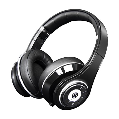 Snlsy Bluetooth Headphones Over Ear , Hi-Fi Stereo Wireless Headset with Microphone and Volume Control Foldable Lightweight for iPad iPhone iPod Tablets Smartphones Laptop Computer PC Mp3/4 (Black)
