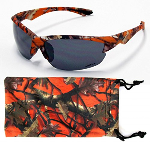 VertX Mens Sport Camouflage Sunglasses Fishing Hunting Outdoor Free Micorfiber Camo Pouch – Orange Camo Frame – Smoke - Camo Sunglasses Orange